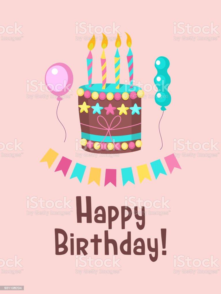 Mutlu doğum günü tebrik kartı. Mumlar ile güzel doğum günü pastaları. - Royalty-free ABD Vector Art