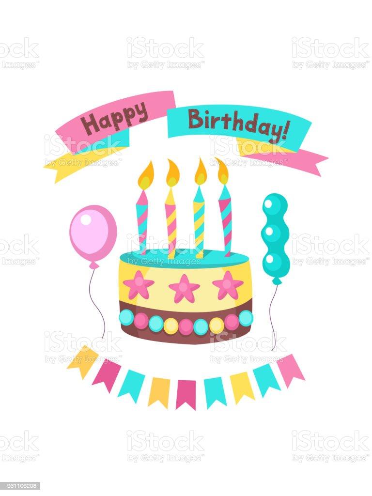 Happy birthday greeting card lovely birthday cakes with candles happy birthday greeting card lovely birthday cakes with candles royalty free happy birthday m4hsunfo