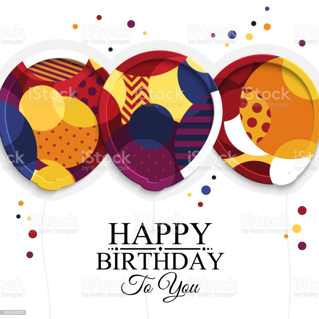 Happy Birthday Greeting Card Paper Balloons With Colorful Textures Drops Color On Background Vector Illustration стоковая