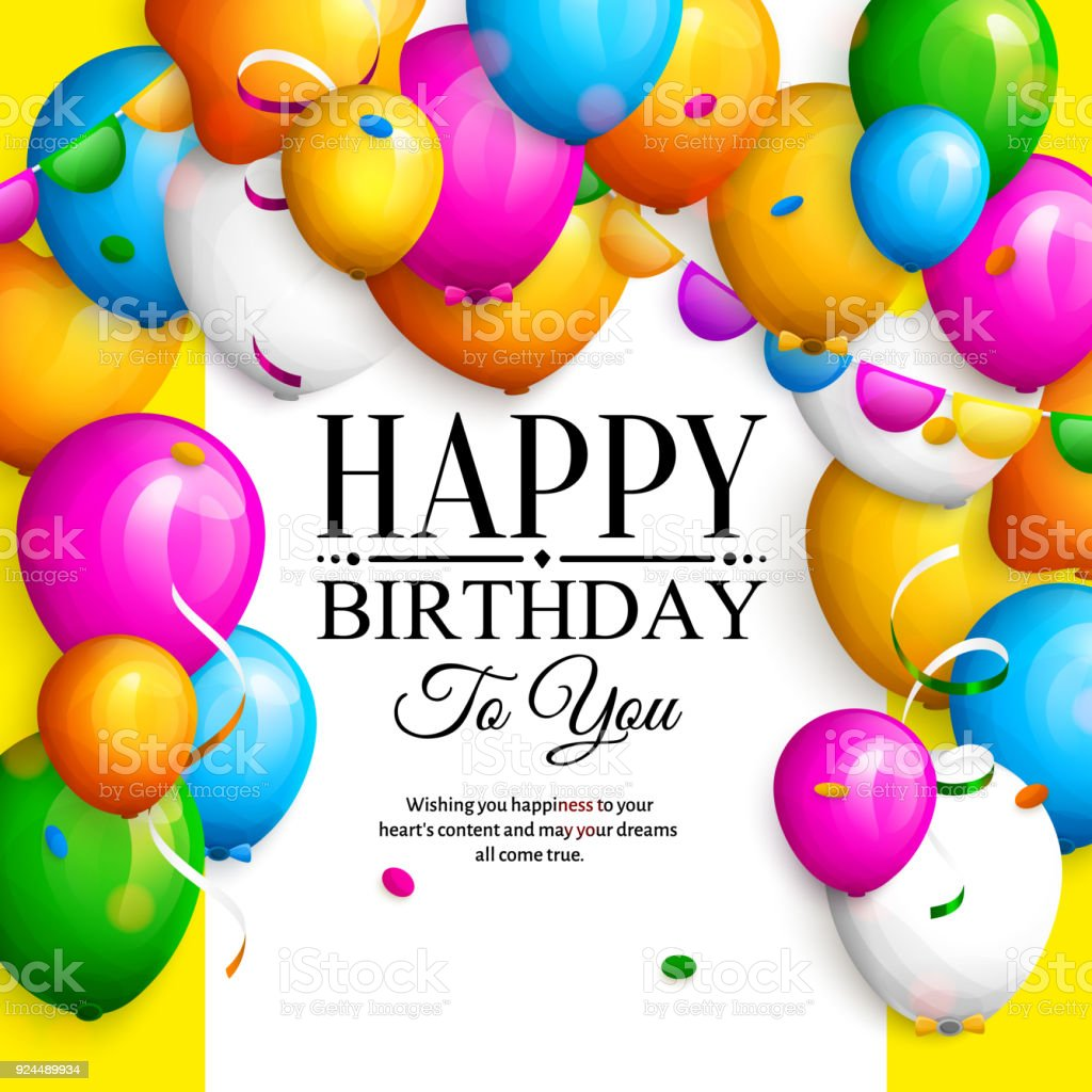 Happy Birthday Greeting Card Party Colorful Balloons Streamers