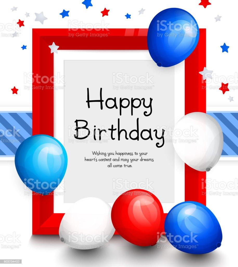 Alles Gute Zum Geburtstag Grußkarte Party Bunte Luftballons Rote ...