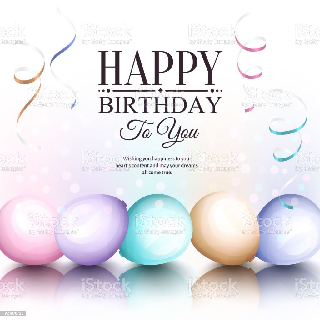happy birthday greeting card retro vintage pastel party balloons