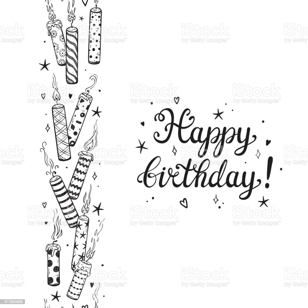 Happy Birthday Greeting Card Template Hand Drawn Calligraphic Lettering And Doodle Burning Patterned Candles