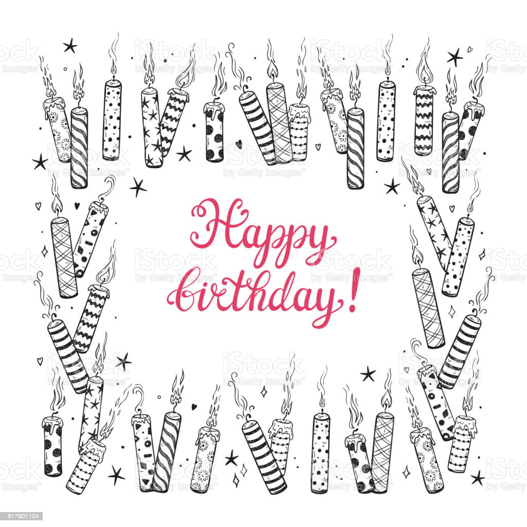 Happy Birthday Greeting Card Template Hand Drawn Calligraphic Lettering And Doodle Burning Patterned Candles With Smoke Square Frame