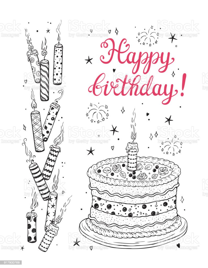 Happy Birthday Greeting Card Template Hand Drawn Doodle Burning ...