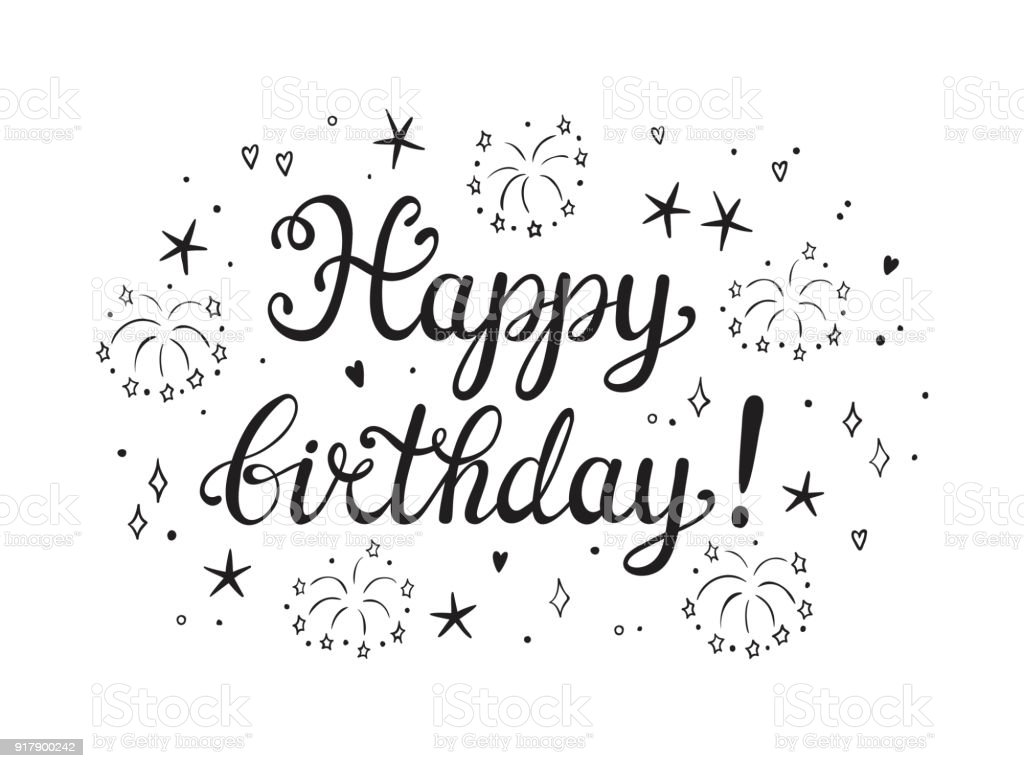 Happy Birthday Greeting Card Template Hand Drawn Lettering And ...