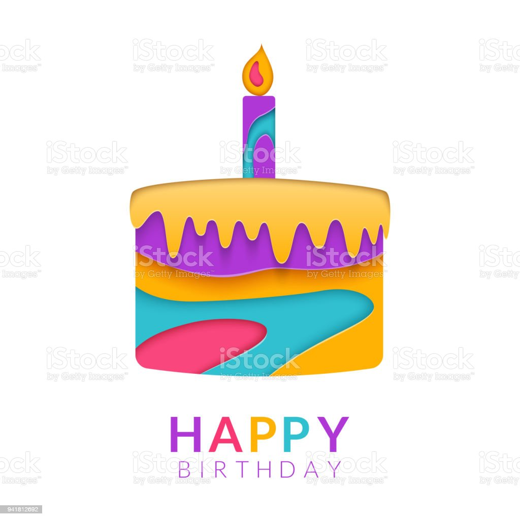 Happy Birthday Greeting Card Template With Papercut Multi Color Cake.  Birthday Congratulation Text. Paper