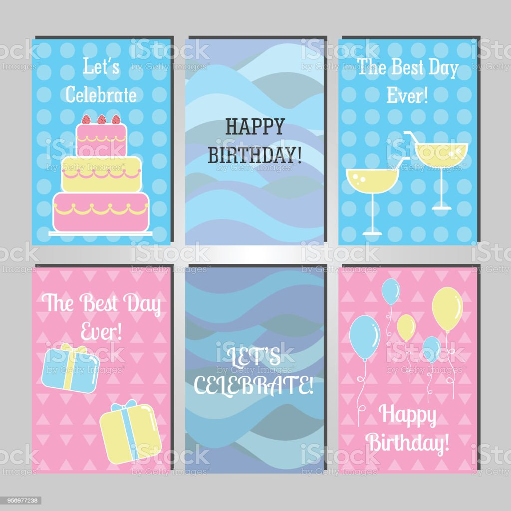 Happy Birthday Greeting Card Templates Royalty Free Stock Vector Art