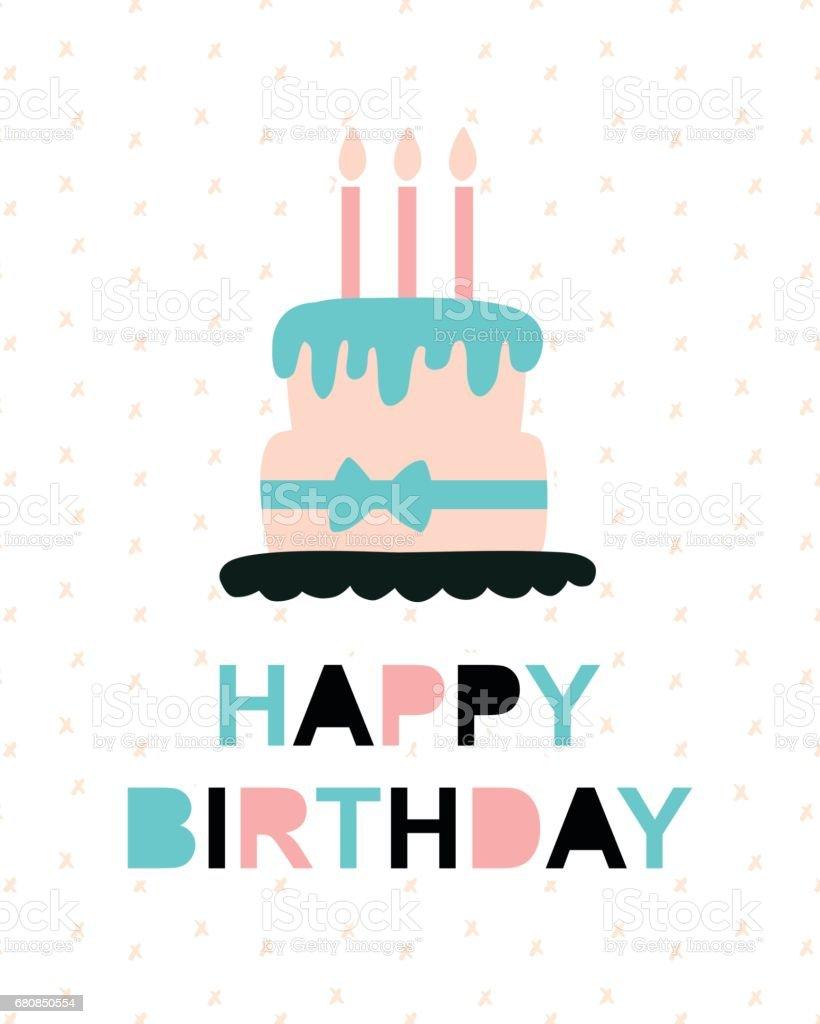 Happy Birthday Greeting Card Templatetrendy Typography Design Stock