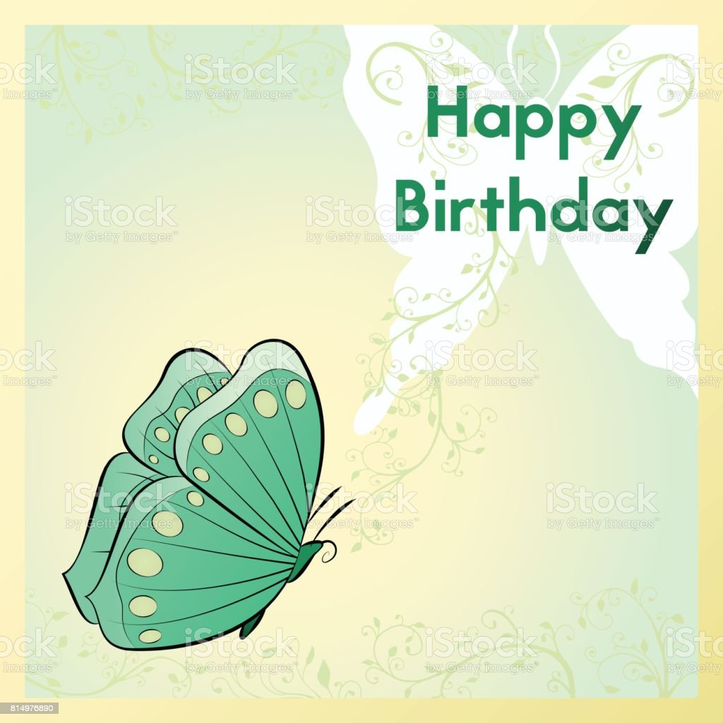 Happy birthday greeting card the postcard is decorated with a happy birthday greeting card the postcard is decorated with a butterfly and plants template m4hsunfo