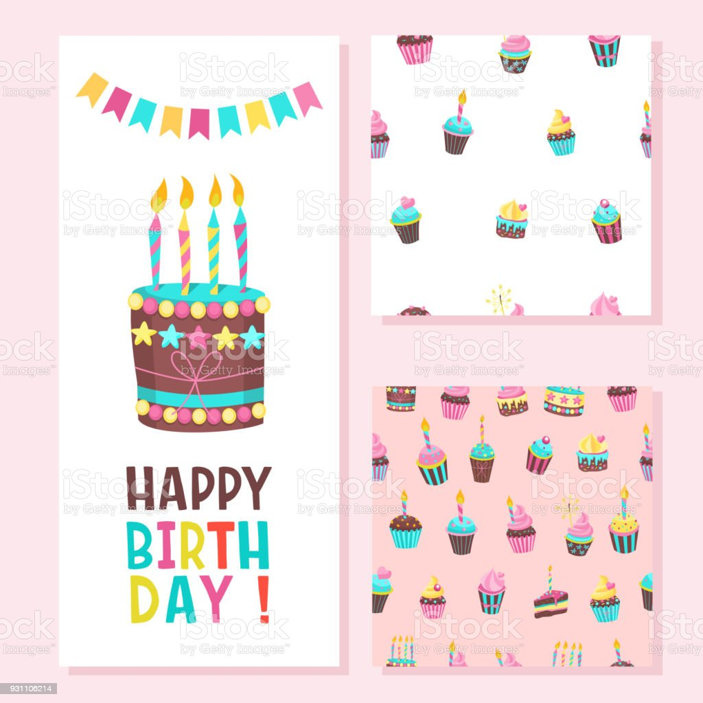 Happy birthday greeting card two seamless patterns lovely birthday happy birthday greeting card two seamless patterns lovely birthday cakes with candles for m4hsunfo