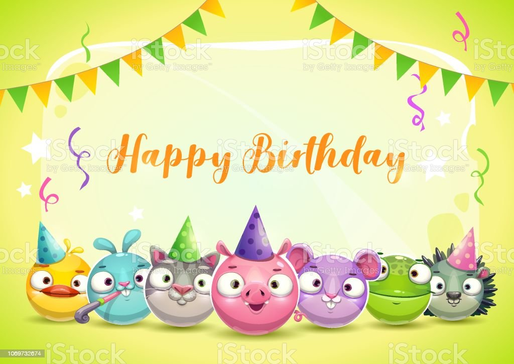 Fine Happy Birthday Greeting Card Vector Birthday Illustration With Funny Birthday Cards Online Fluifree Goldxyz