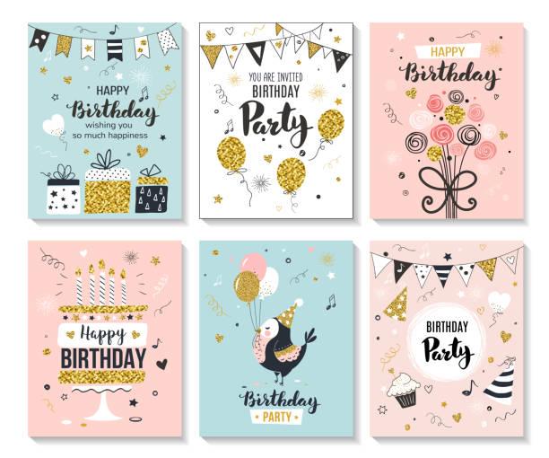 ilustraciones, imágenes clip art, dibujos animados e iconos de stock de tarjeta de felicitación de cumpleaños feliz. - cumpleaños