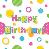illustration of happy birthday text with colorful circles pattern on white background