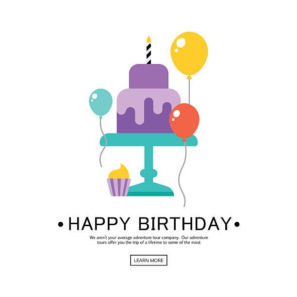 stockillustraties, clipart, cartoons en iconen met happy birthday greeting card - verjaardagstaart