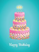 Vector illustration of beautiful white birthday cake with pink glaze and candles. Isolated on blue background.