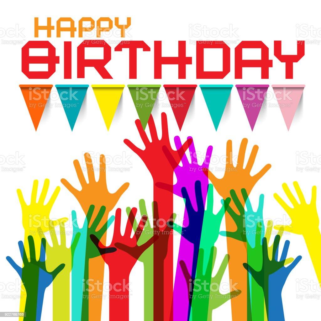 Happy birthday greeting card stock vector art 922788766 istock crowd hand human hand czech republic assistance happy birthday greeting m4hsunfo