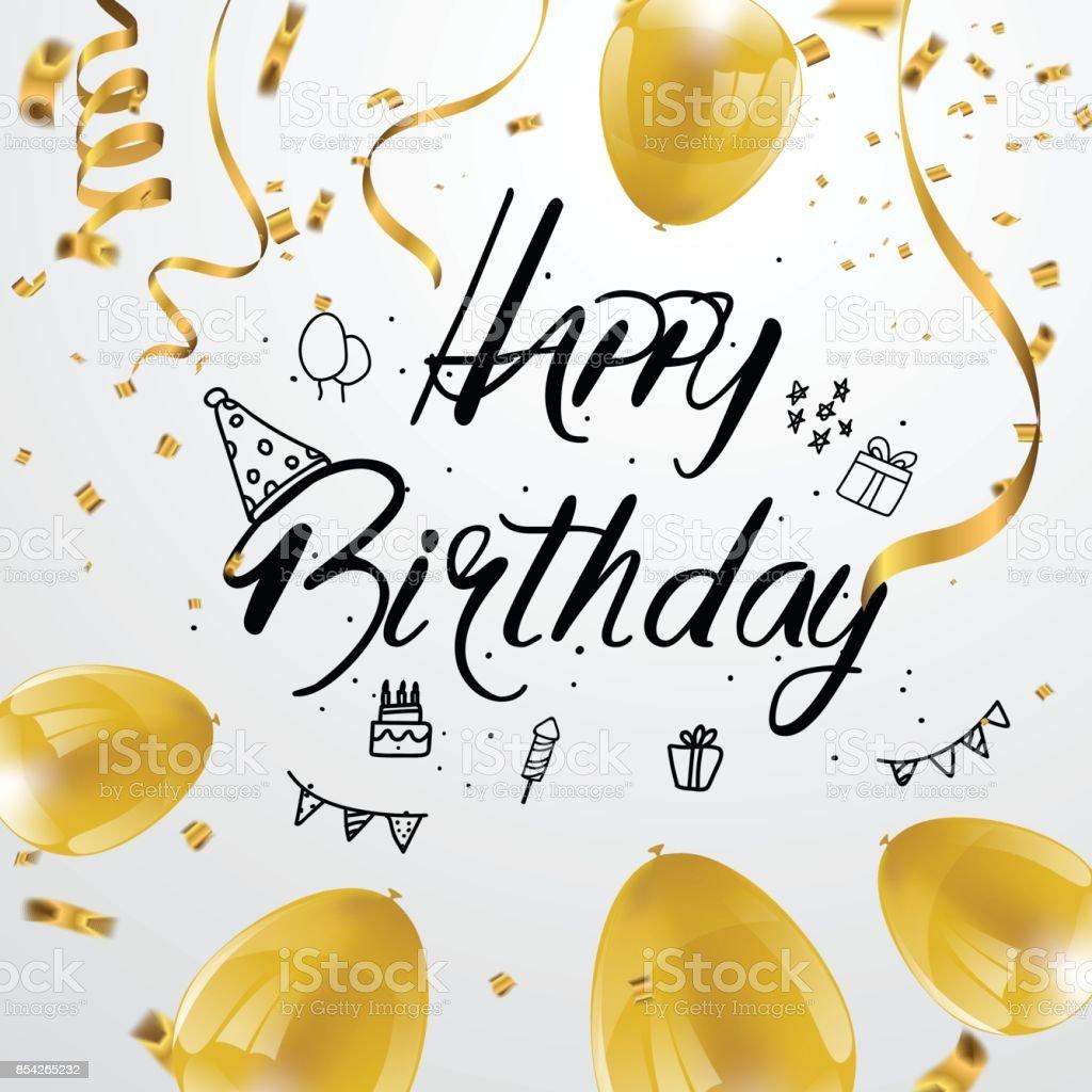 Happy Birthday Greeting Card Version Illustration Design Golden