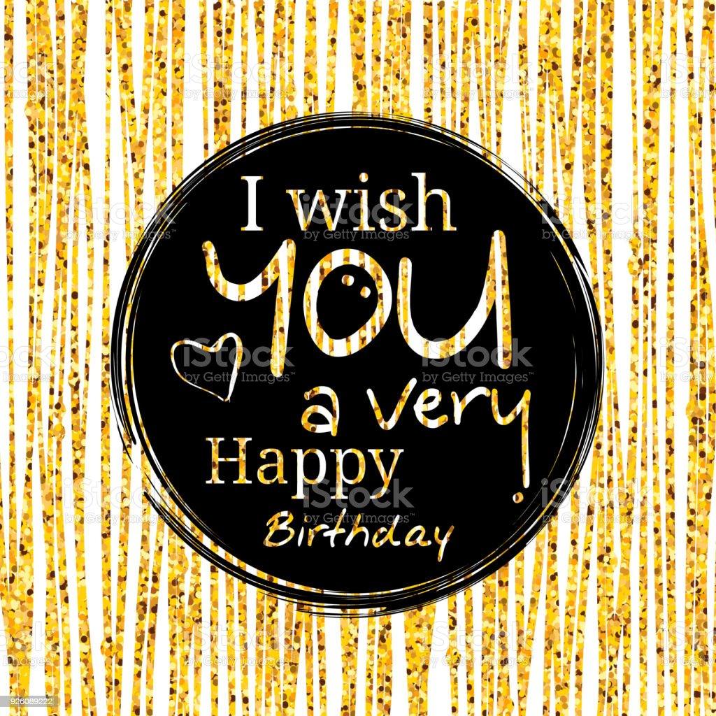 Happy Birthday Greeting Card Wishing In Black Circle On Golden