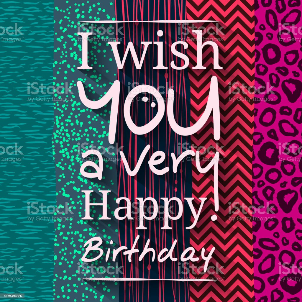 Happy Birthday Greeting Card Wishing On Different Pattern Texture