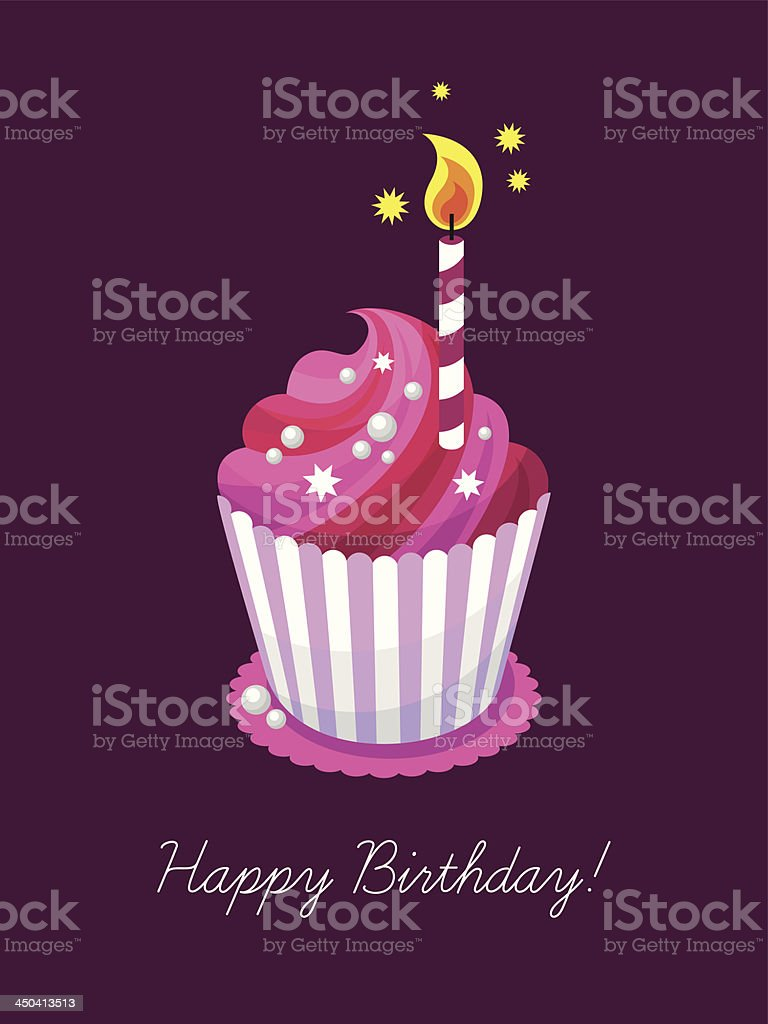 Happy birthday greeting card with a cupcake royalty-free stock vector art