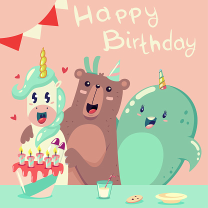 Happy birthday greeting card with a funny unicorn, a bear and a whale. Vector cartoon illustration with holiday cake and magic animals.