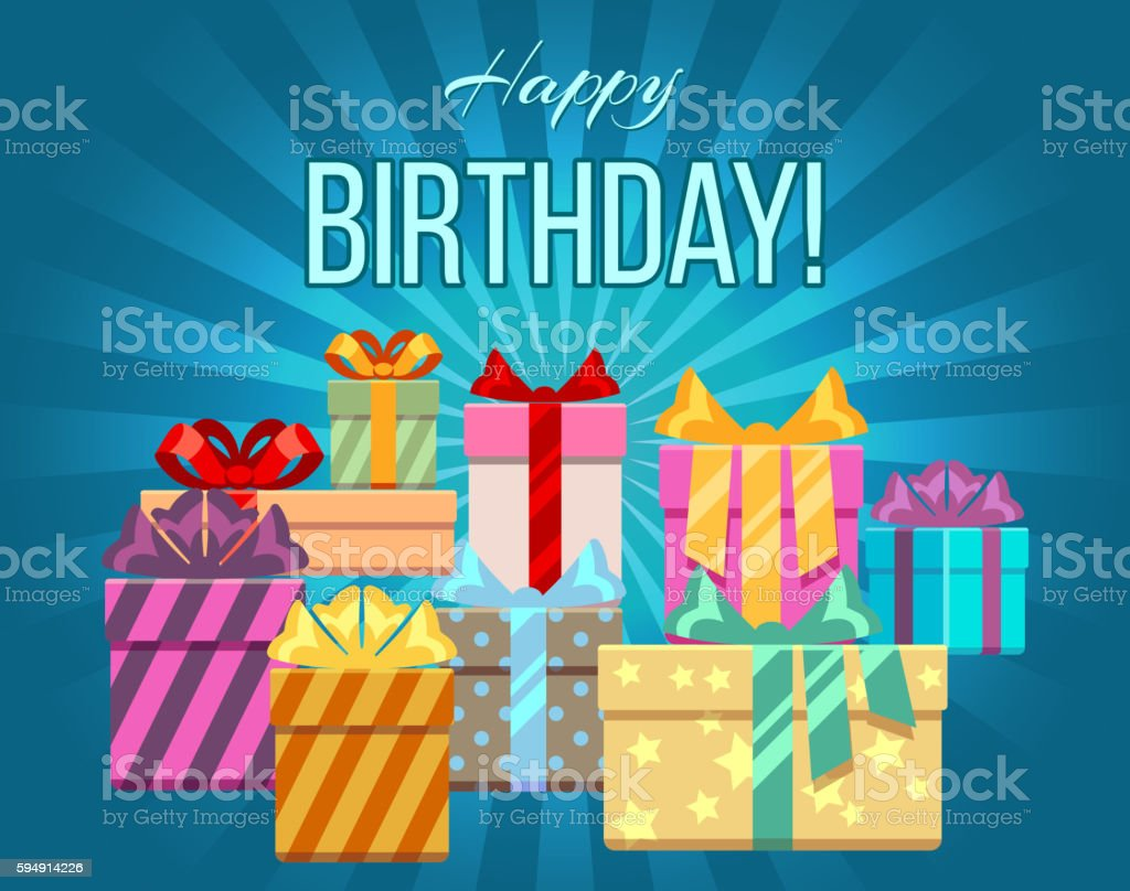 Happy birthday greeting card with a heap of gift boxes vector art illustration