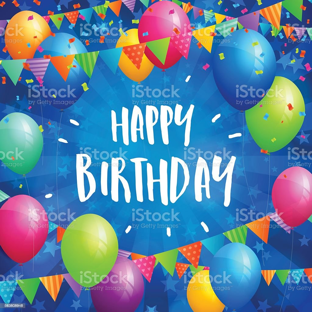 Happy Birthday greeting card with balloons, flags and confetti