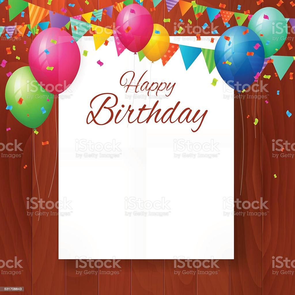 Eccezionale Biglietto Di Auguri Di Buon Compleanno Con Palloncini Su Sfondo  HN69