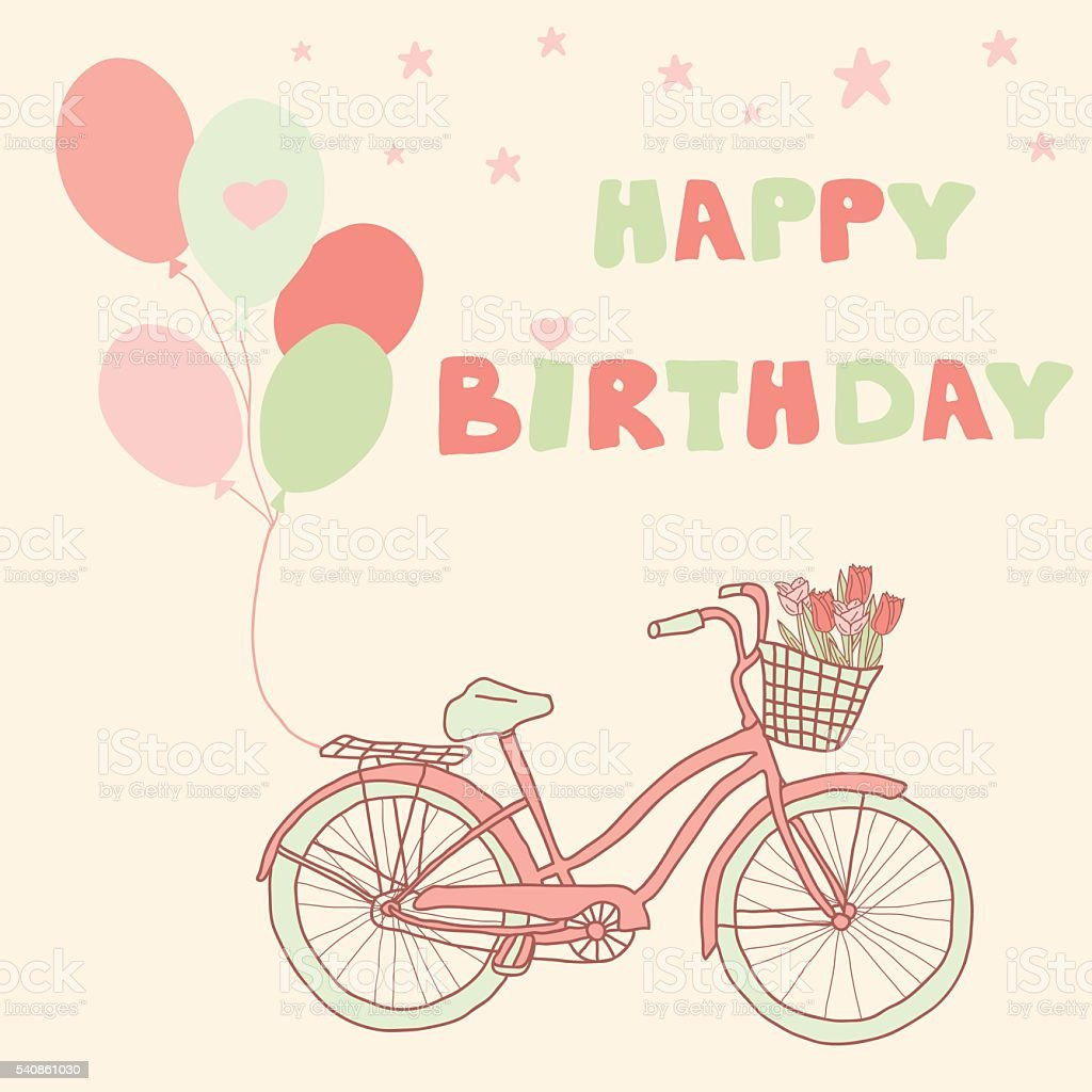 Buon Compleanno Cartolina Dauguri Con Bicicletta Immagini