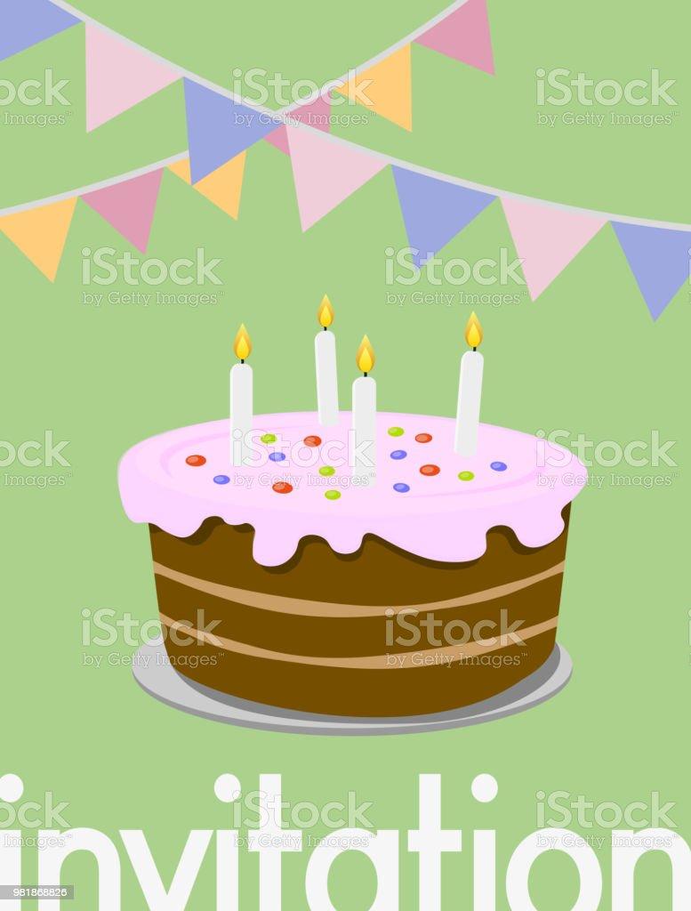 Happy Birthday Greeting Card With Birthday Cake Illustration Stock