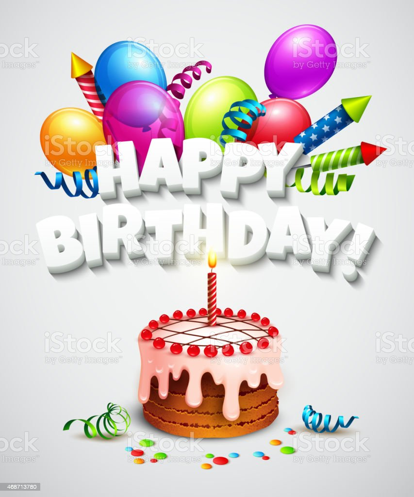 Popolare Biglietto Di Auguri Di Buon Compleanno Con Torta E Palloncini  FN75