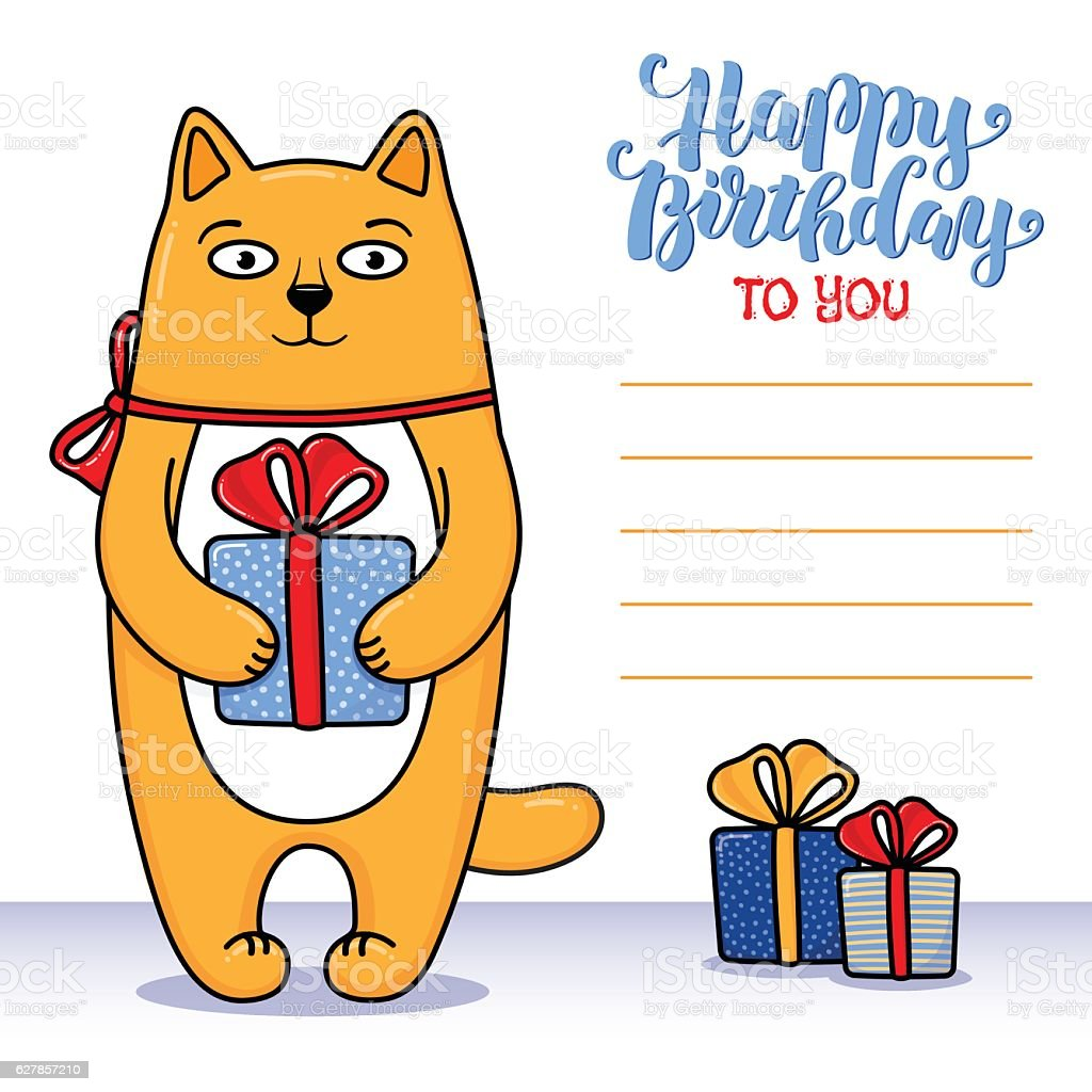 Happy Birthday Greeting Card With Cat Holding A Gift Royalty Free