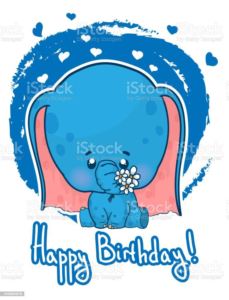 Gelukkige Verjaardagwenskaart Met Schattige Cartoon Olifant