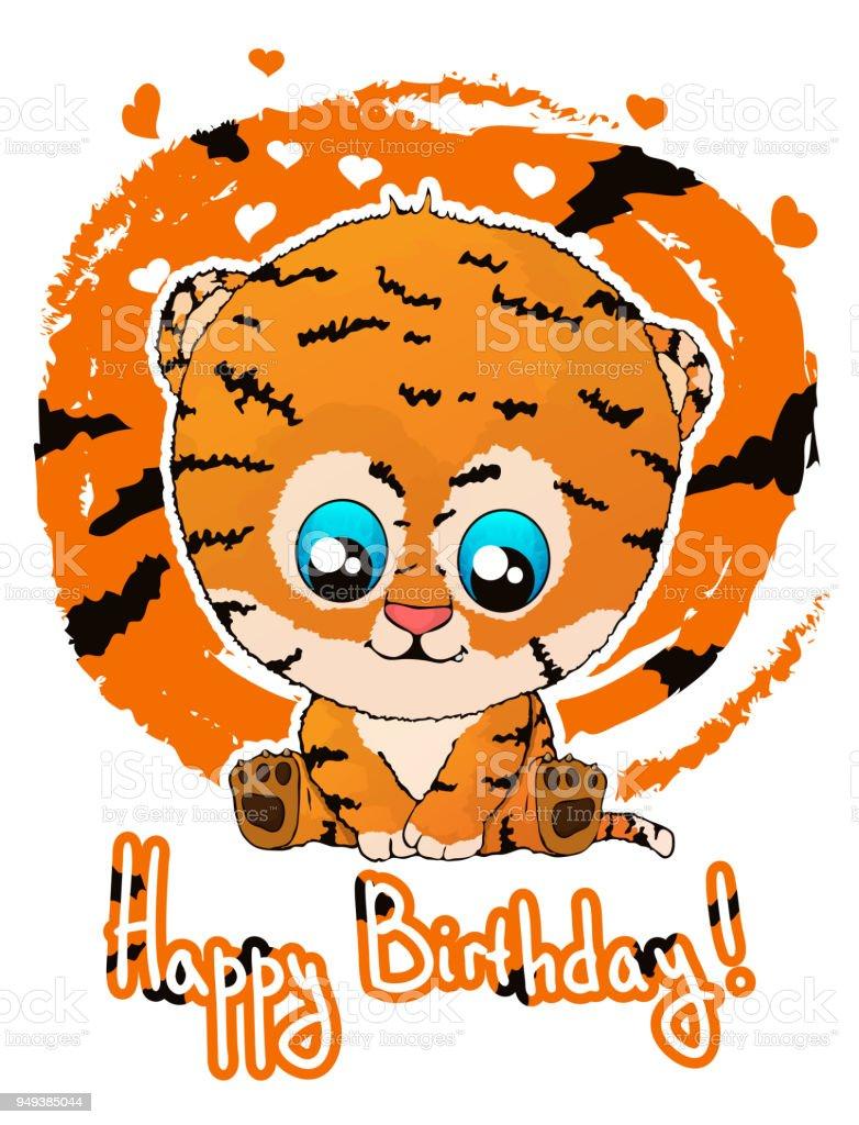 Happy Birthday Greeting Card With Cute Cartoon Tiger Cub