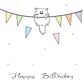 Happy Birthday! Greeting card with cute cat
