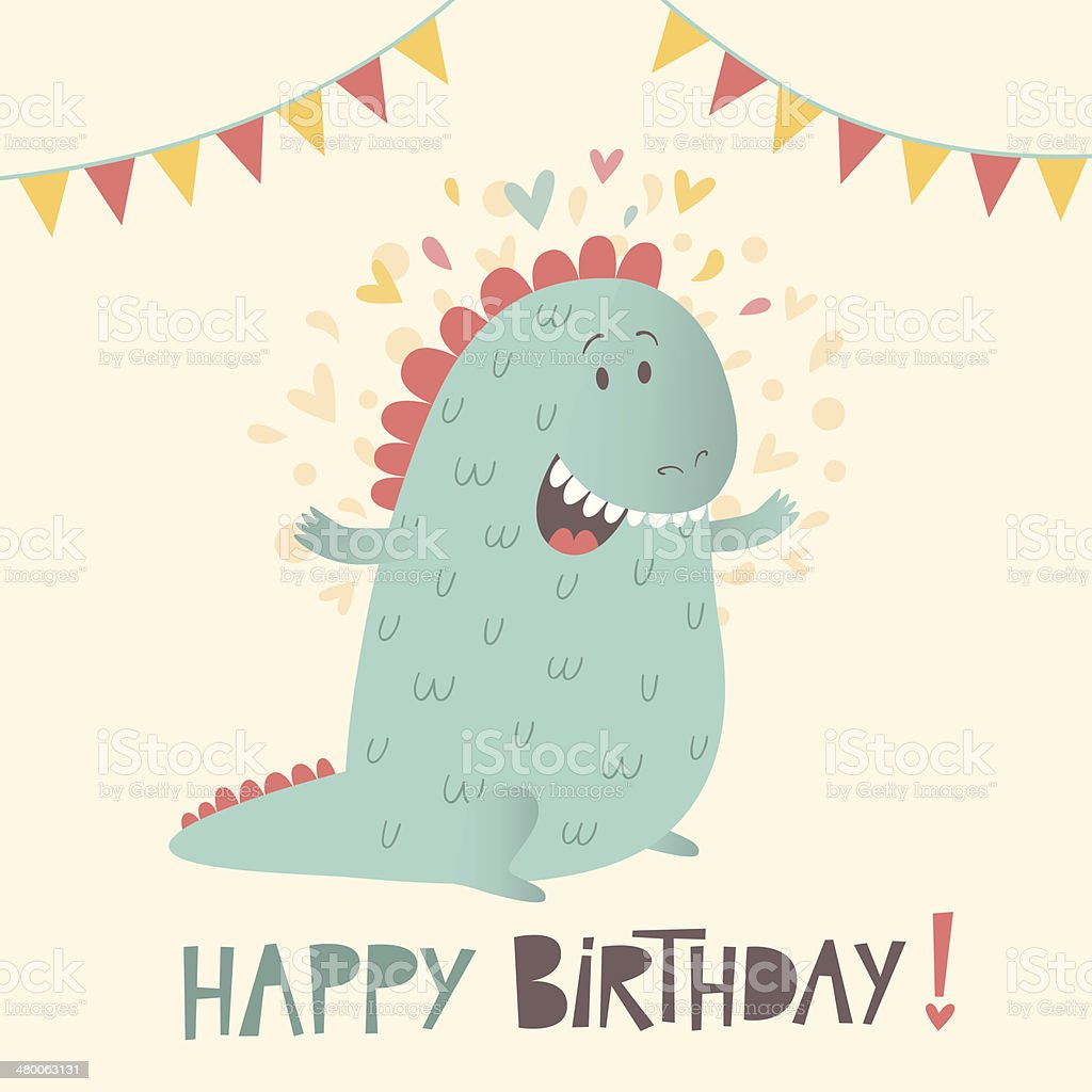 Happy birthday greeting card with cute dinosaur stok vektr sanat happy birthday greeting card with cute dinosaur royalty free happy birthday greeting card with cute m4hsunfo