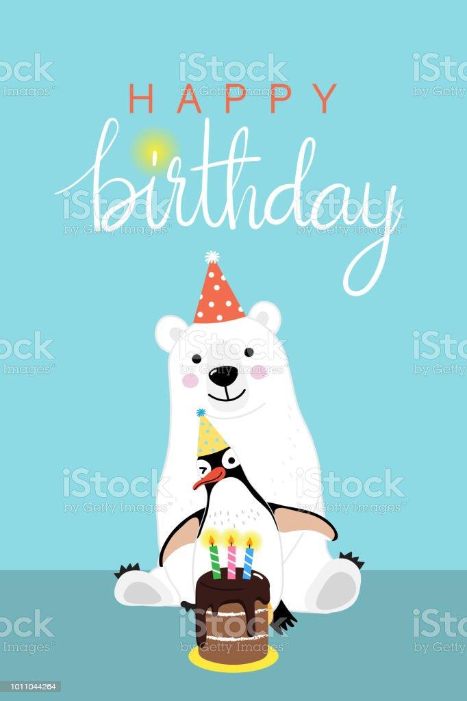 Happy Birthday Greeting Card With Cute Polar Bear And Penguin Animal