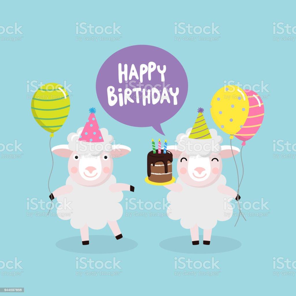 Gelukkige Verjaardagwenskaart Met Schattige Schapen In De Partij