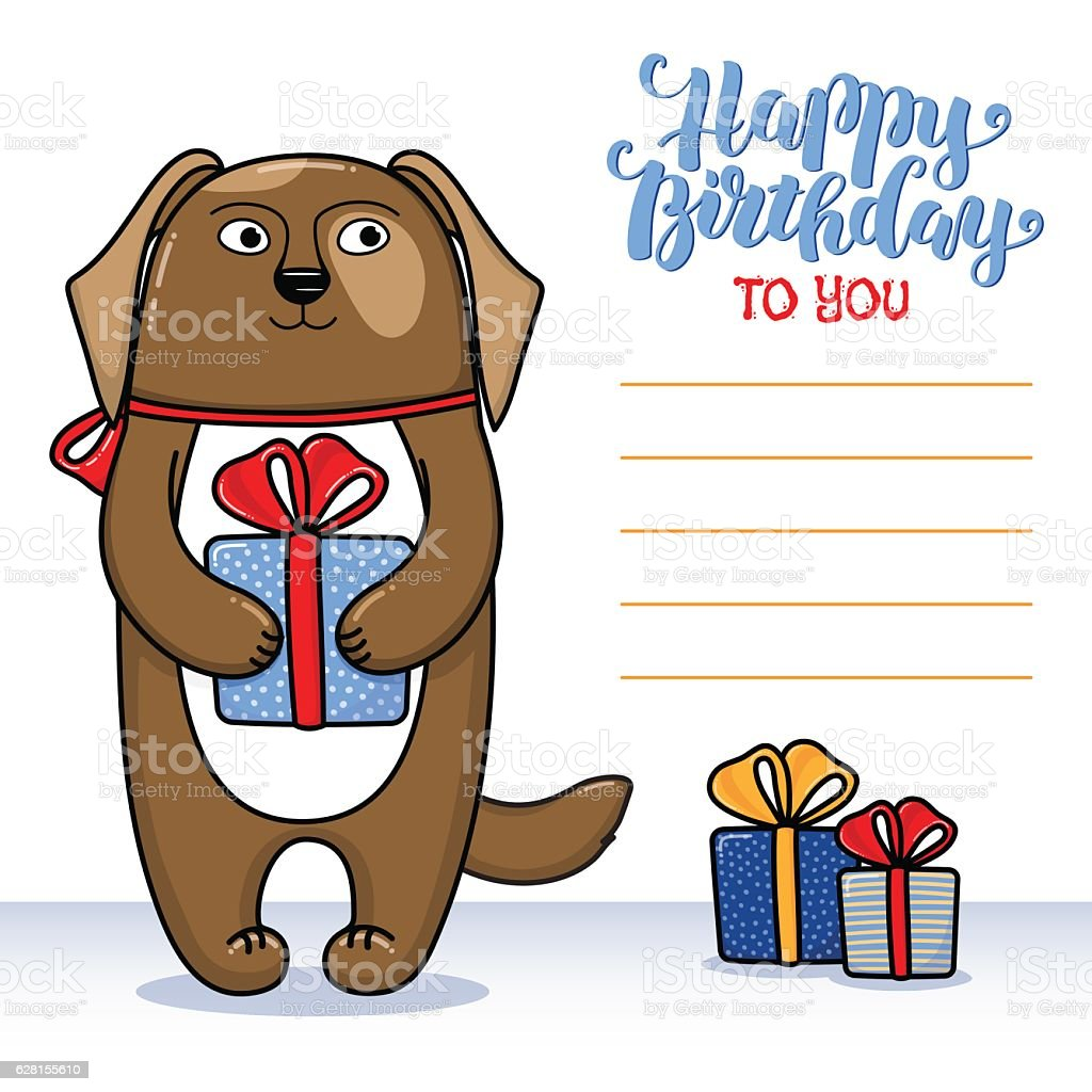 Happy Birthday Greeting Card With Dog Holding A Gift Lizenzfreies