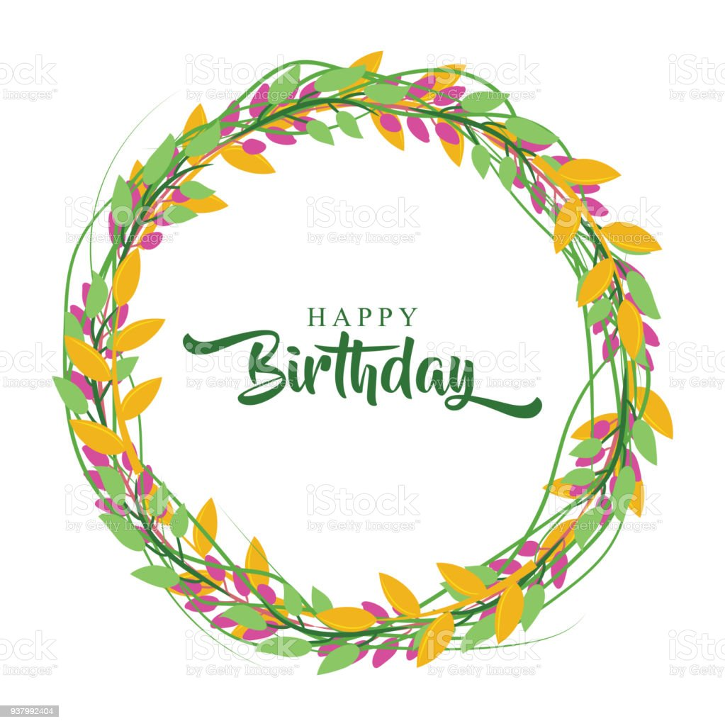 Happy birthday greeting card with flower wreath stock vector art happy birthday greeting card with flower wreath royalty free happy birthday greeting card with flower izmirmasajfo