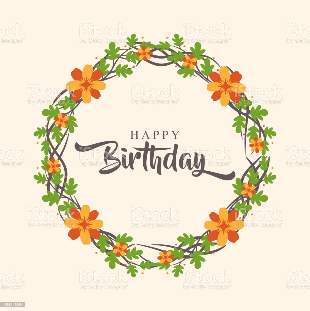 Happy Birthday Greeting Card With Flower Wreath Stock Vector Art