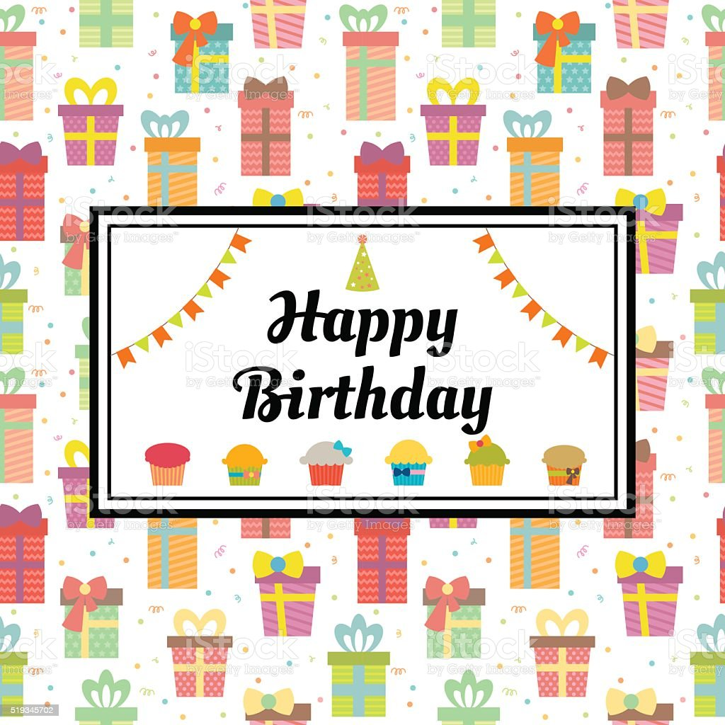 Happy Birthday Greeting Card With Gift Boxes And Cupcakes Cute – Cute Birthday Greeting Cards