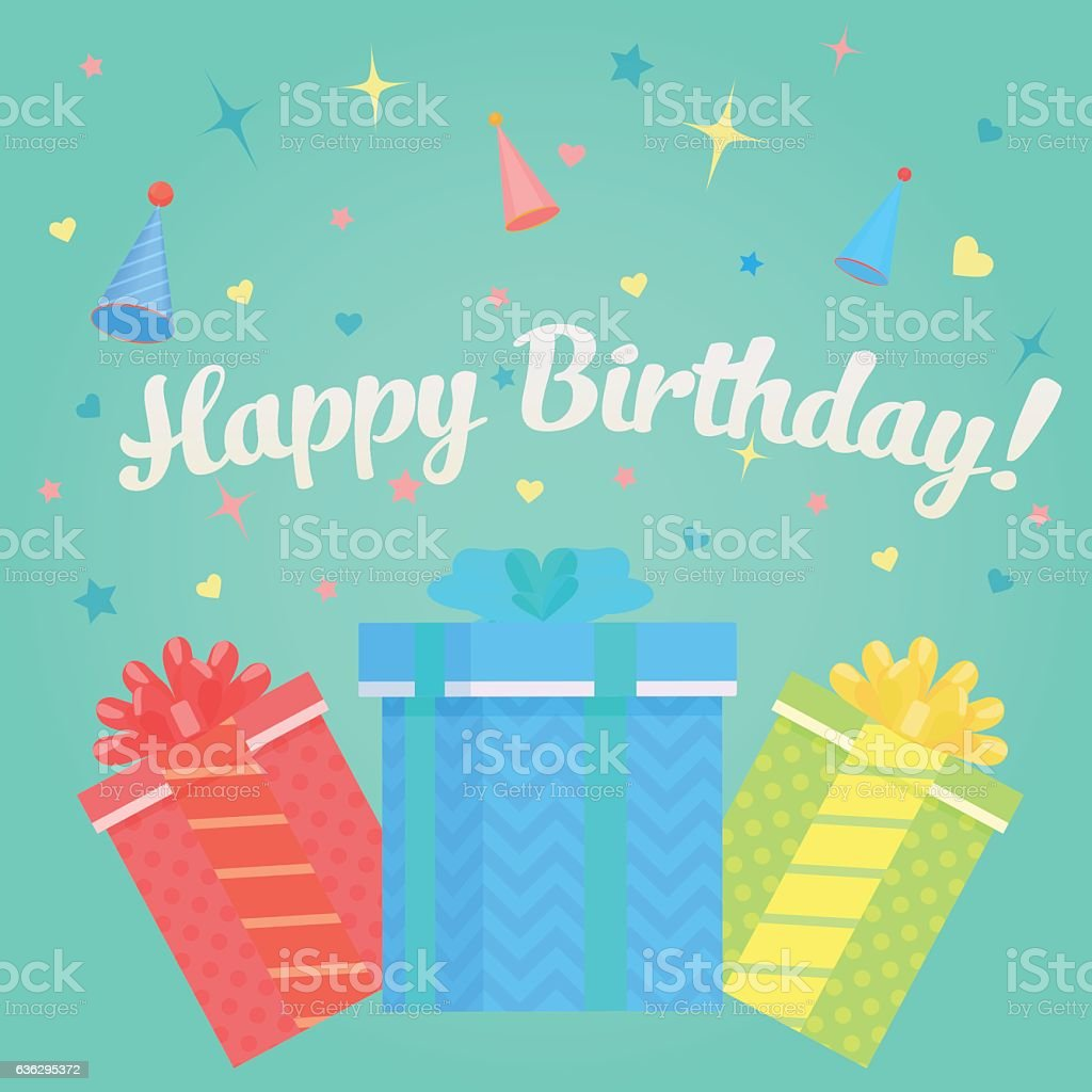 Happy Birthday Greeting Card With Gifts And Confetti Concept Lizenzfreies