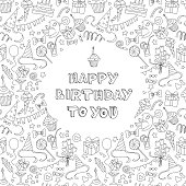 Vector illustration Happy birthday greeting card with hand  drawm pattern and lettering