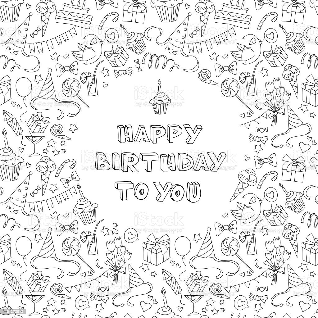 Happy birthday greeting card with hand  drawm pattern and letter vector art illustration