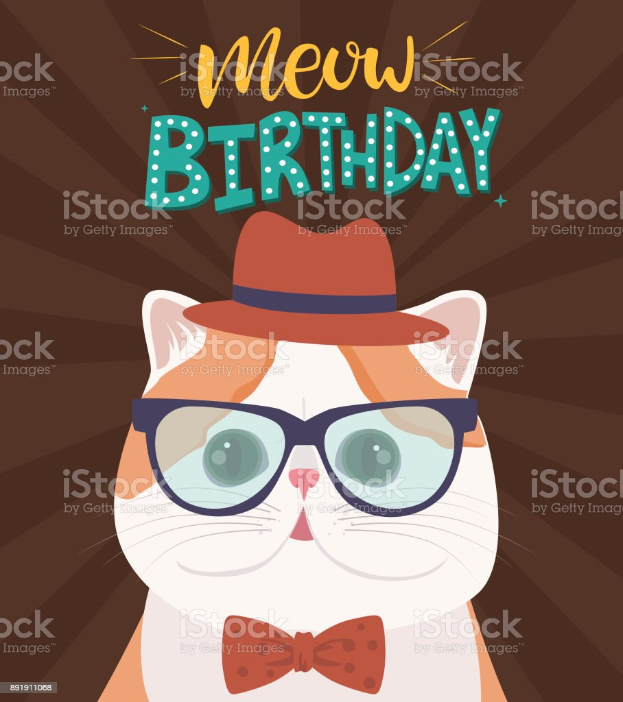 Happy Birthday Greeting Card With Hipster Cat