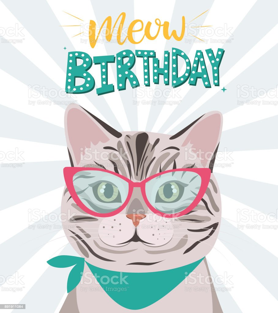 Happy Birthday Greeting Card With Hipster Cat Stock Vector Art