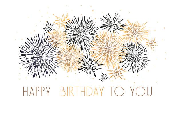 glücklich geburtstag grußkarte mit schriftzug design. schwarze und goldene glitter feuerwerk weißen hintergrund. - fanfare stock-grafiken, -clipart, -cartoons und -symbole