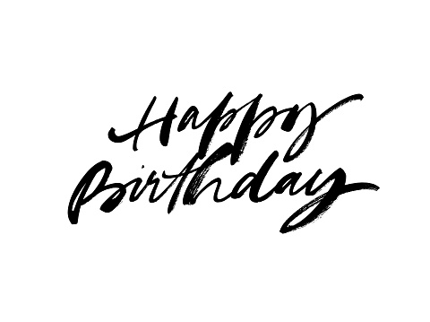 Happy Birthday greeting card with vector lettering design. Hand drawn modern brush calligraphy isolated on white background.